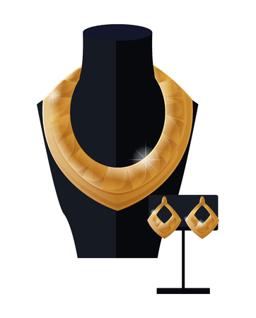 Jewelry set golden necklace and earrings on black mannequin, expensive accessory item isolated on white. Gold rich chain platinum collection vector Illustration
