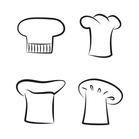 Kitchen Caps Set Headwear Item for Baker Chef Cook Stock Vector - 109586580