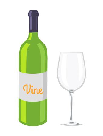 Wine Glass and Bottle Isolated on White Backdrop Illustration
