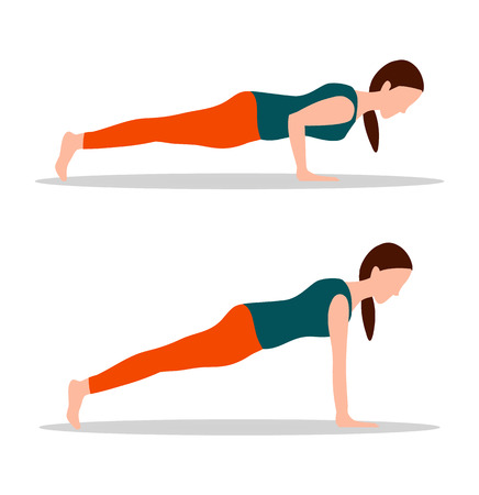 Push ups position of yoga, fit woman with strength in arms does exercises, lady wears sportswear cartoon vector illustrations set isolated on white.