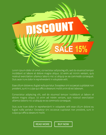 Discount with 15 off only at summer promo poster. Sale commercial banner with palm leaves. Seasonal low price isolated vector online web page template