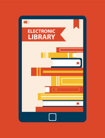 Electronic Library Device Vector Illustration