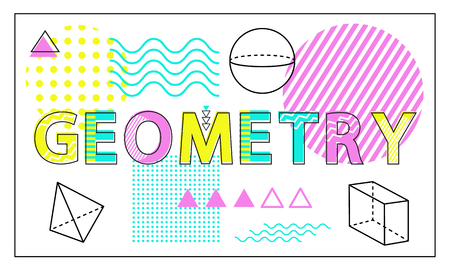 Geometry Science Banner Isolated on White Backdrop Illustration