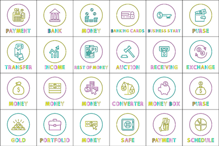 Online commerce and web shopping linear icons set. Payment and purchasing with e-money outline buttons isolated cartoon flat vector illustrations.