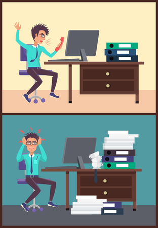 Shouting businessman working in office, behaving in irritative manner, angry of deadlines and tired nights thinking of problems vector illustration Ilustração