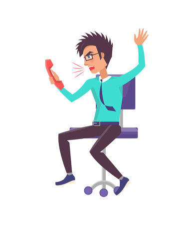 Brunette man shouts angrily on someone while speaking on phone, worker sitting on chair wearing formal suit with tie isolated vector illustration Vector Illustration