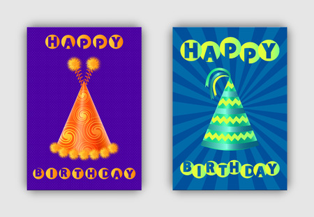 Happy Birthday Pair of Festive Hats Colorful Cards