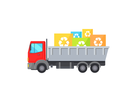 Big Red Truck Takes Away Square Garbage Signs Stock Vector - 109587126