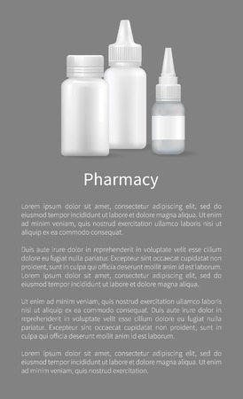 Pharmacy banner, image of vials with medical means vector illustration with text sample isolated on grey background, bottle collection for medicine
