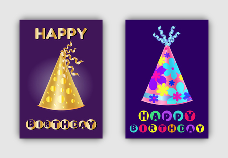 Happy Birthday banners with glittering realistic hats decorative headwear paper caps with golden dots and floral patterns, topped by ribbons vector