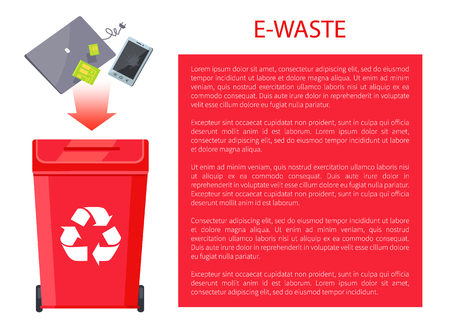 E-Waste Poster Container, Vector Illustration Illustration