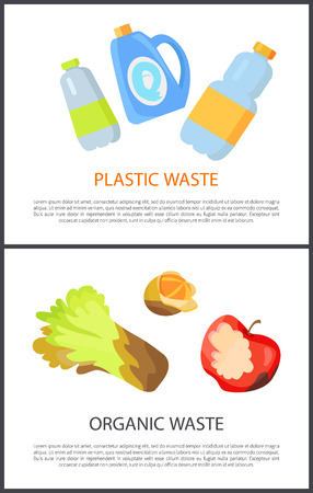 Plastic and Organic Waste Isolated on White Banner