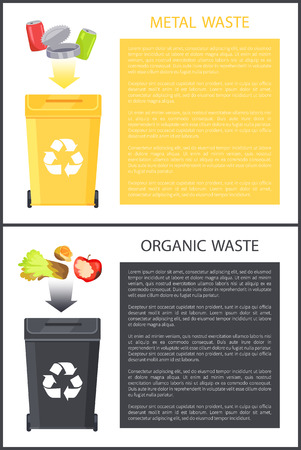 Metal and organic waste set, poster with text sample in colorful boxes, orange and apple, salad lettuce, aluminum cans collection vector illustration