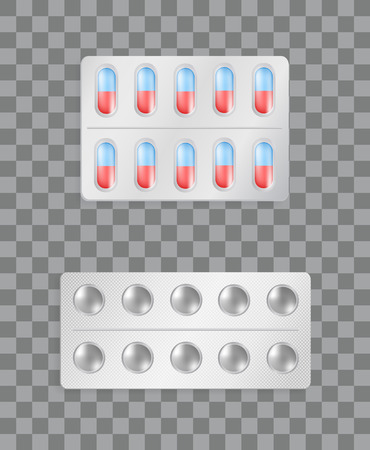 Pills Strips Transparent, Vector Illustration Stockfoto - 109662019