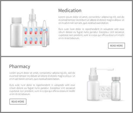 Medication and pharmacy web banners nasal sprays, bottles with treatment remedies, empty container with drops for nose, packages aerosol aids, vector set