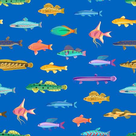 Modèle sans couture avec illustration vectorielle de petites créatures marines dessin animé. Impression pour textile ou tissu avec des habitants de la mer, papier peint caricatural.