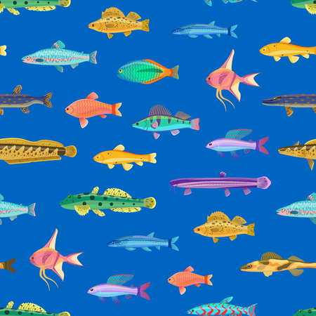 Seamless pattern with small marine creatutes cartoon vector illustration. Print for textile or fabric with sea inhabitants, cartoonish wallpaper.