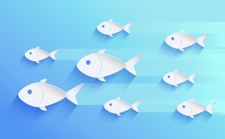 School of fish silhouette isolated on blue. Set of white different size fingerlings swimming one way, leaving shadows behind, vector illustration