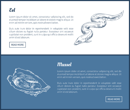 Eel and Mussel Seafood Set Double Color Graphic.