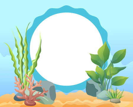 Funny cartoon oval photo frame card with sea weed, stones and corals and wave contoured space for photograph flat vector illustration on blue tint.