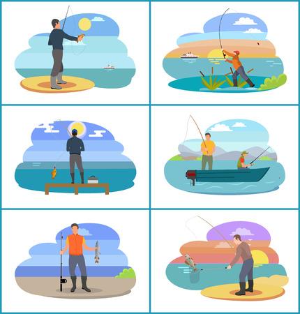 Ensemble de pêche de personnes à la plage. Bord de mer et rivières avec plantes et pêcheur tenant une canne à pêche. Illustration vectorielle de passe-temps pour hommes habiles