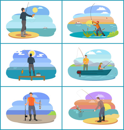 Fishing set of people at beach. Seaside and rivers bank with plants and fisherman holding rod catching fish. Skillful mens hobbies vector illustration