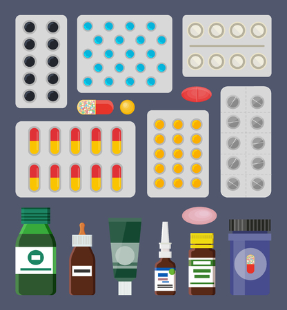 Pills Packss and Liquid Medical Means in Bottles Stockfoto - 109662213