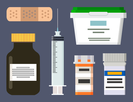 Medicine Production Icons Set Vector Illustration