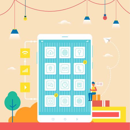 Developer on Books Thinking Vector Illustration