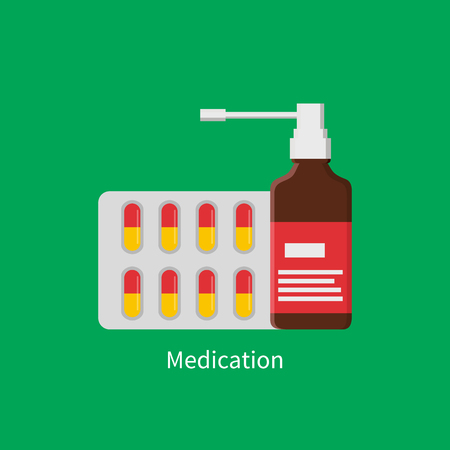 Medication Poster Inhaler Vector Illustration Illustration