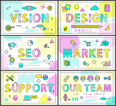 Vision design market SEO support and our team card, set of vector illustrations of typography font samples, banners collection with geometric ornament Illustration