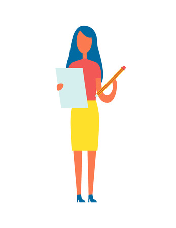 Editor holding article written on page and big pencil in hands, brunette woman doing correction of publication work, isolated on vector illustration