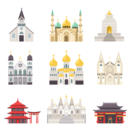 Holy Religious Buildings from All Over World Set Illustration