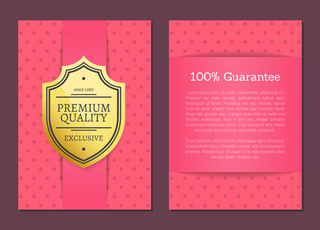 Premium quality guarantee pink patterned posters set with headline and text sample. Product approval and exclusive offer clearance vector illustration Ilustrace