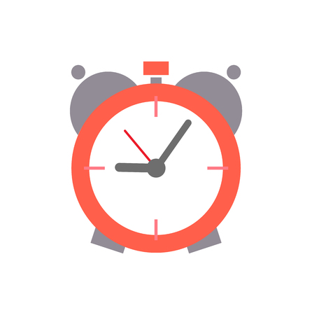 Old round alarm clock with mechanic system inside. Device that rings in set time to wake up and points right hour isolated flat vector illustration. Reklamní fotografie