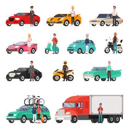 Modern cars and truck with drivers beside set. Sport, classic or family vehicles, happy owners. Convenient transport isolated vector illustrations.