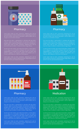 Medication pharmacy items set. Pills blister in plastic package and container with pills content. Helpful inhaler in glass bottle vector illustration