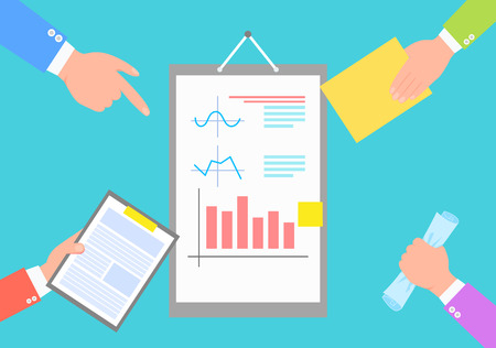 Business data statistics, chart and plots images isolated on blue vector illustration of report surrounded by human hands with papers and documents