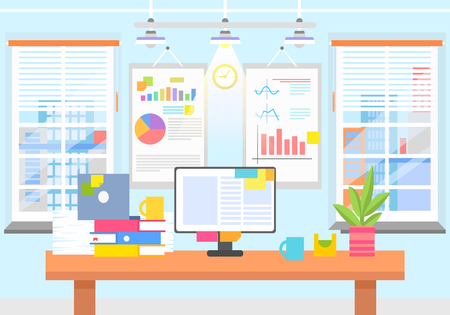 Office interior with graphics on wall, computer monitor, plant in pot, pile of folders and coffee cups. Comfortable workspace vector illustration. Фото со стока