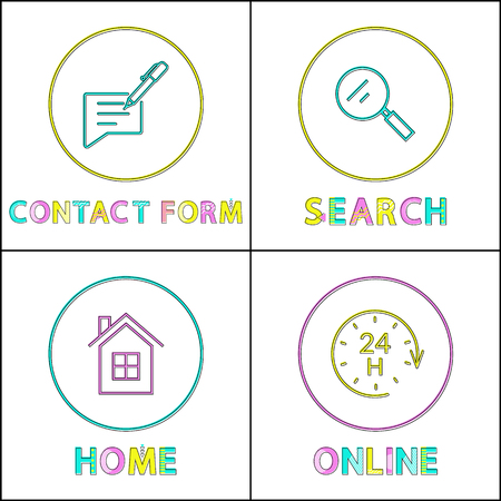 Internet and smartphone round linear icons set. Contact form, search symbol, home page, online services outline emblems isolated vector illustrations.