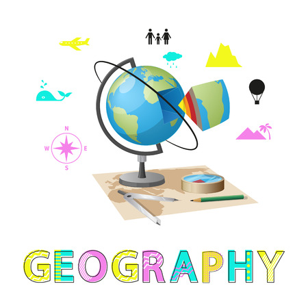 Geography poster and globe with Earth structure layers. Compass and topical icons of population, mountains whales. Planet study vector illustration