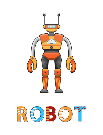 Robot with funny face poster. Robotic creature designed by human. Cybernetic science creating artificial systems with antenna vector illustration Illusztráció