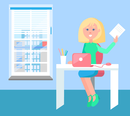 Cheerful woman with sheet of paper colorful poster, office interior, blue wall and floor, pretty girl sitting by table with laptop and holds a doc Illustration