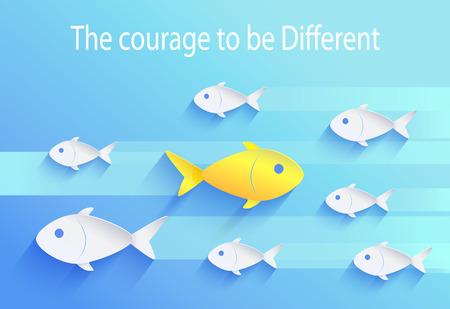 Coraje para ser diferente, icono de pez arriesgado Ilustración de vector