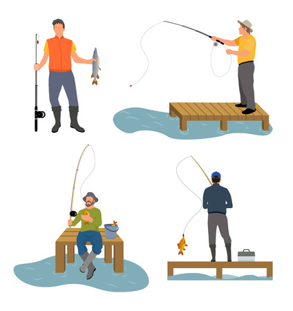 Fisherman catches fish with help of rod set. People active hobbies and lifestyle of men sitting on wooden dock pier, isolated on vector illustration