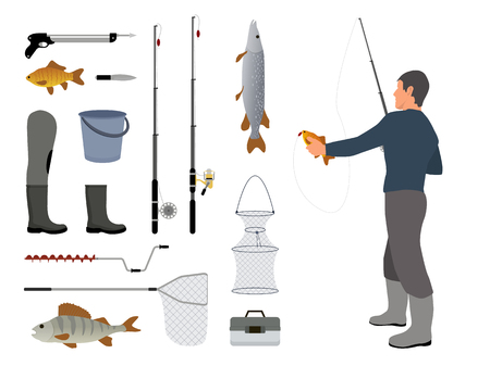 Fishing man holding fish catched on rod with bait help. items related to hobby of person. Set of landing net, waders and poles vector illustration