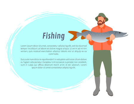 Fisherman full length color model form with big fish in hands poster. Fishery cartoon flat vector illustration with text sample on white background. Illustration