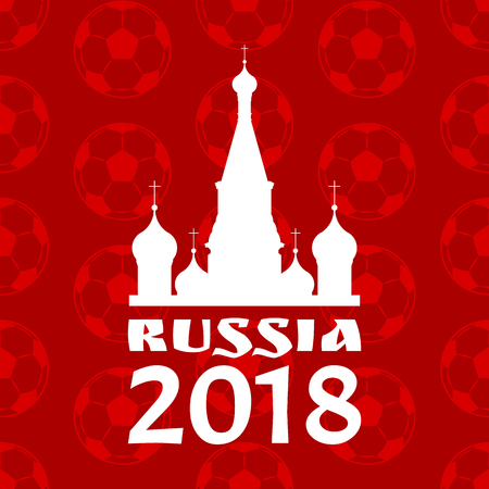 Russia Poster with Red Pattern Vector Illustration  イラスト・ベクター素材