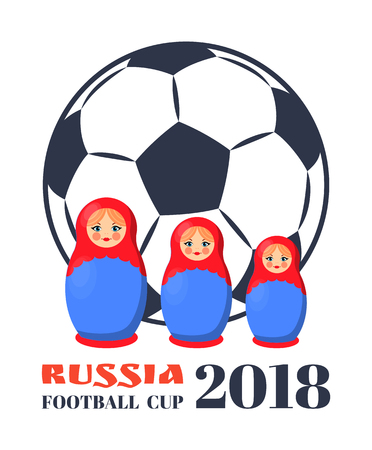 Russia Football Cup Dolls Vector Illustration Ilustracja
