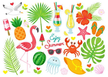 Enjoy summer poster set. Seagull and pink flamingo, cocktails with ice and straws. Fruits and palm tree leaves, marine animals vector illustration